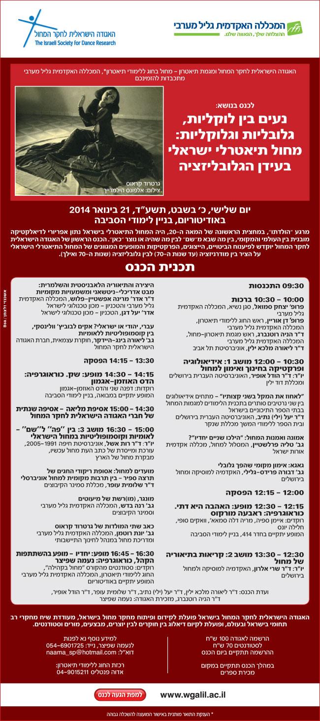 נעים בין גלובליות, גלובליות וגלוקליות – כנס האגודה הישראלית לחקר המחול